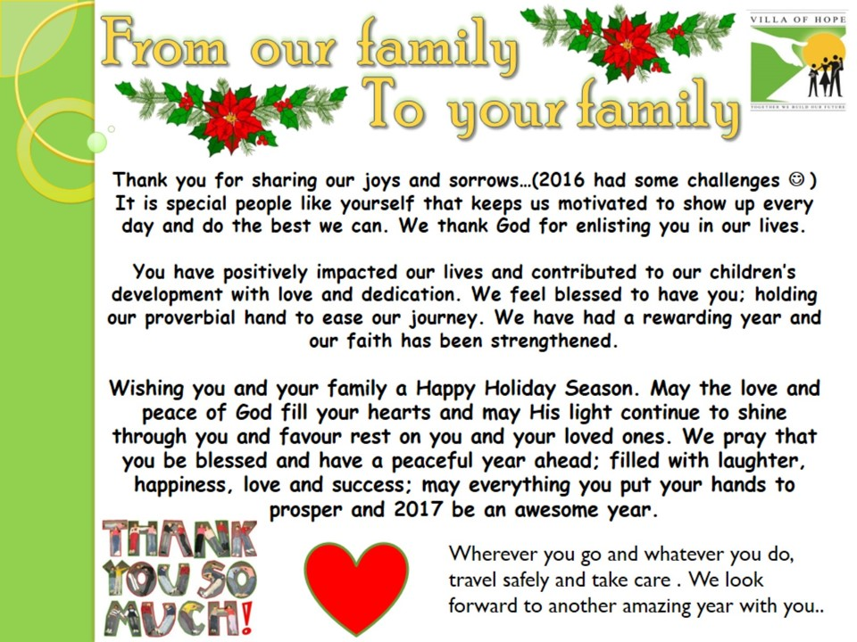 ... of Hope Childrens Home » Blog Archive » Seasons Greetings – 2016